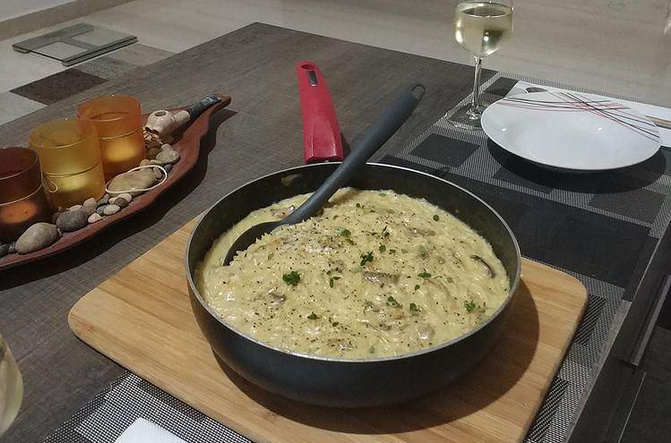 Συνταγή για ριζότο με κρέμα γάλακτος και μανιτάρια
