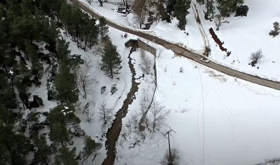 Μαγευτικές εικόνες από ψηλά από τη χιονισμένη Εύβοια - Όρος Δίρφυς (video)