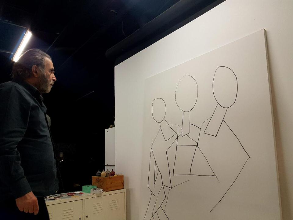 Ο Λάκης Λαζόπουλος και ο Απόστολος Χαντζαράς στην γκαλερί Kapopoulos Fine Arts στη Νάουσα της Πάρου